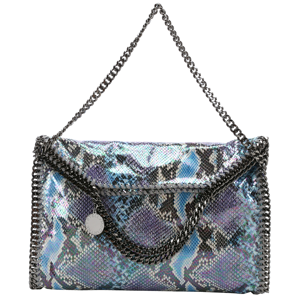 Stella McCartney Falabella 藍紫色亮面蛇紋兩用鏈帶包(中)