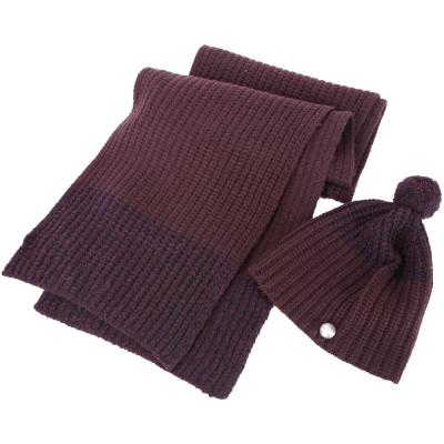 MBMJ 拼接羊毛粗針織圍巾+針織帽(暗紫色/73%WOOL)