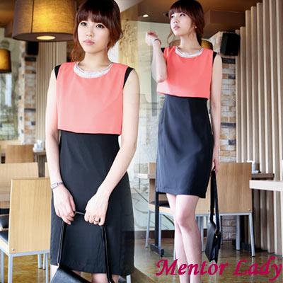 亮片領飾假兩件連身裙 (橘色)-Mentor Lady