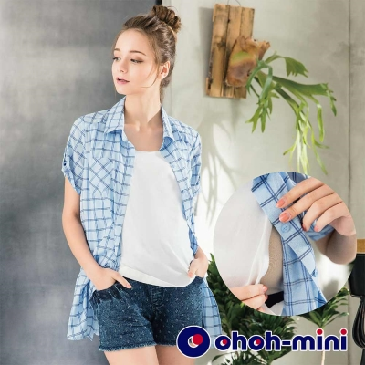 ohoh-mini 孕婦裝 率性格紋袖口反釦孕哺上衣