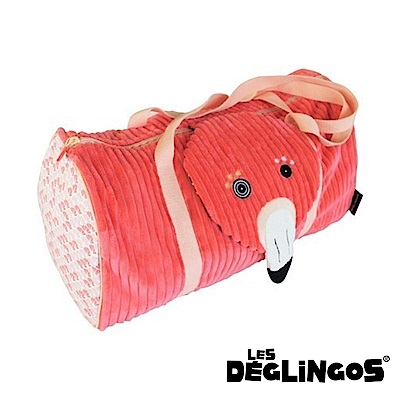 Les Deglingos 立體玩偶旅行側背包(周末休閒包)-紅鶴 (FLAMINGOS)