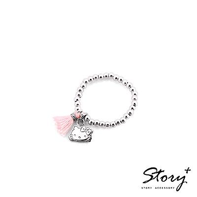 STORY-PinkHolic圓珠純銀彈性戒指-HelloKitty款