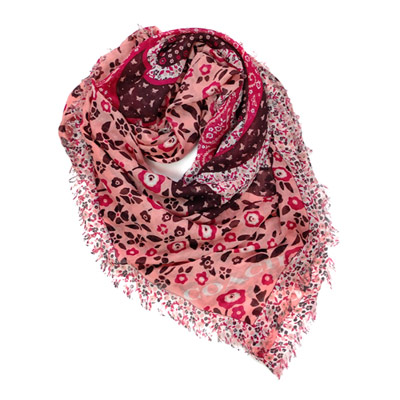 COACH粉紅花繪大蝴蝶圖騰方型圍巾(112x112)