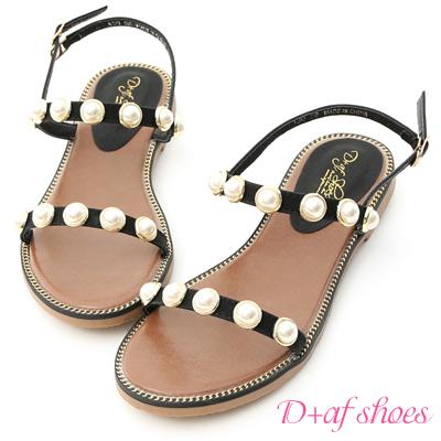 D+AF 人魚眼淚.精緻珍珠飾釦一字涼鞋*黑