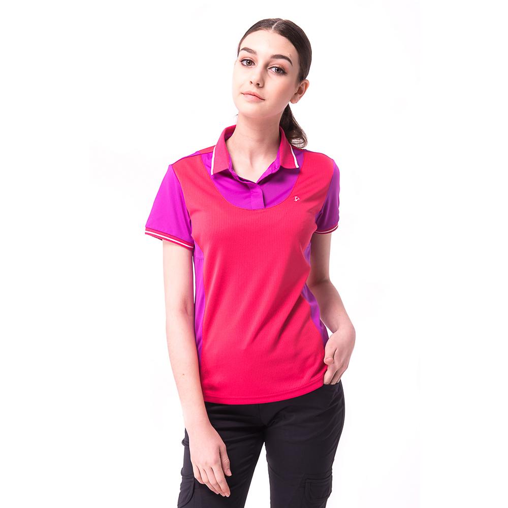 【hilltop山頂鳥】女款冷黑抗UV吸濕排汗POLO衫S14FC5粉/紫