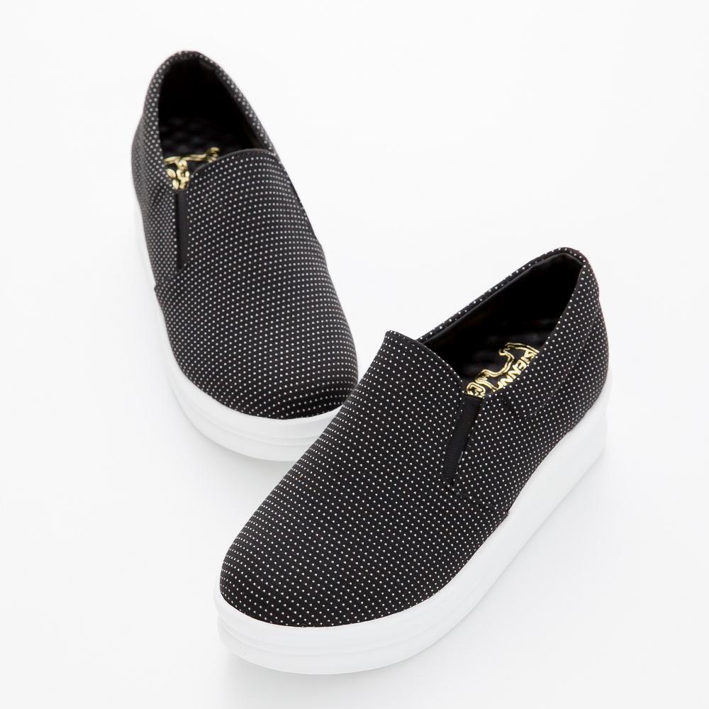 River&Moon厚底鞋-台灣製印花點點厚乳膠懶人休閒鞋-黑