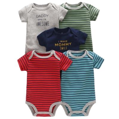 Carters 美國 繽紛條紋素色標語短袖包屁衣連身衣5件組