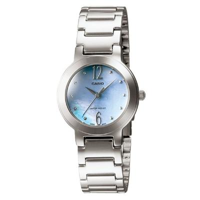 CASIO 珍珠母貝指針淑女錶(LTP-1191A-2A)-粉藍色/25.5mm