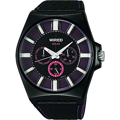 WIRED-Solar-復刻太陽能腕錶-AUB033X-紫-黑-44mm