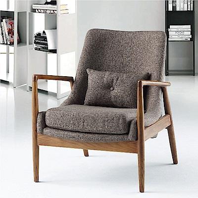 品家居 瑞喬亞麻布實木單人沙發椅-67x55x80cm-免組