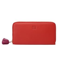 LOEWE 經典LOGO壓印鋸齒滾邊小羊皮拉鍊長夾(珊瑚紅)