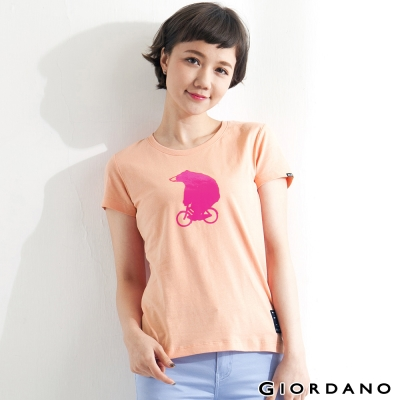 GIORDANO-女裝BOB小熊騎車純棉印花TEE