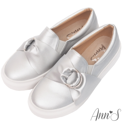 Ann-S小步舞圓環蝴蝶結厚底懶人鞋-銀