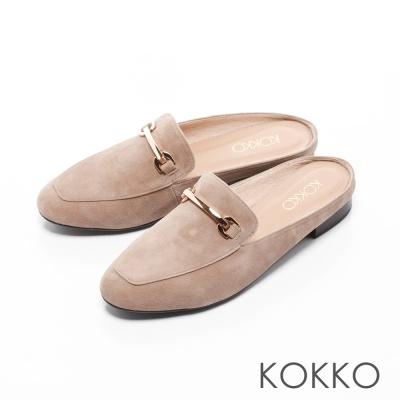 KOKKO-復刻精典金屬鍊方頭平底穆勒鞋-駝灰