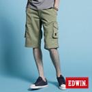 【EDWIN】純粹夏日-KHAKI貼袋馬褲-男款(橄欖綠)
