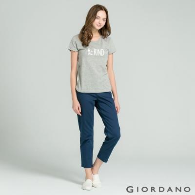 GIORDANO 女裝中腰俐落日常休閒褲-66 標誌海軍藍