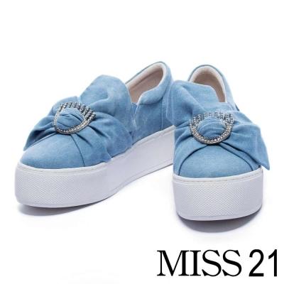 休閒鞋-MISS-21-亮眼水鑽大蝴蝶結牛仔布厚底