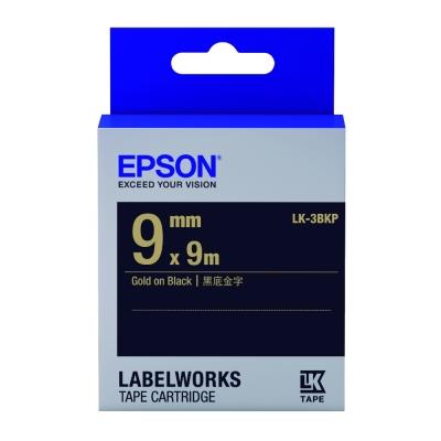 EPSON C53S653407 LK-3BKP粉彩系列黑底金字標籤帶(寬度9mm)