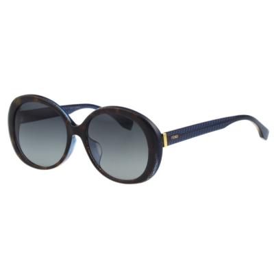 FENDI-圓面-時尚太陽眼鏡-琥珀框-藍腳