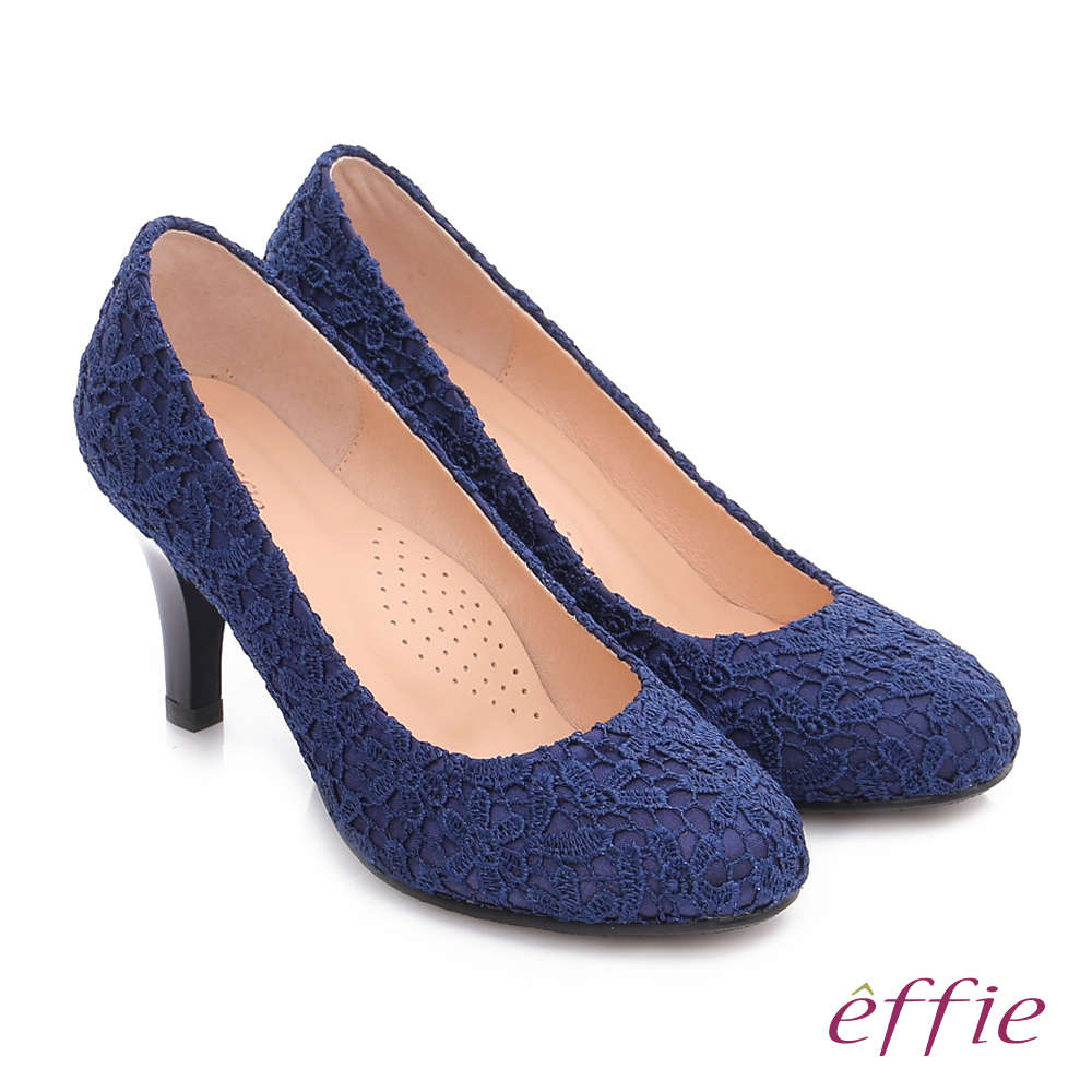 effie 耀眼女伶 優雅美型蕾絲窩心高跟鞋 藍