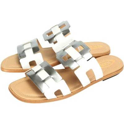 TOD'S 小牛皮平底拖鞋/涼鞋(銀x白色)