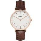 CLUSE荷蘭精品手錶 波西米亞玫瑰金系列 白錶盤/棕皮革錶帶38mm