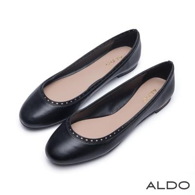 ALDO-幾何鏤空微笑金屬線圓頭休閒娃娃鞋-尊爵黑