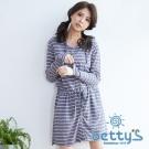 betty's貝蒂思 連帽條紋開釦抽繩洋裝(藍灰色)