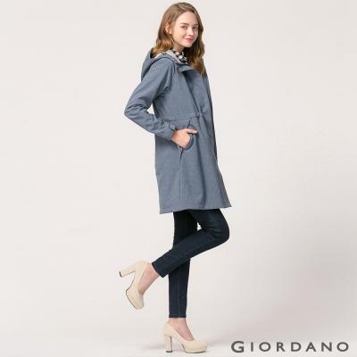 GIORDANO 女裝保暖搖粒絨內裡中長版連帽外套 - 78 深靛藍