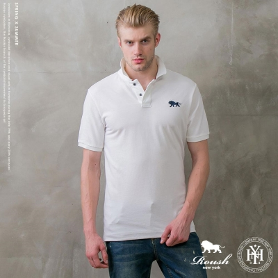 ROUSH 獅型立體LOGO水洗素面POLO衫(2色)