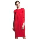 紅色復古燈籠裙長袖壓摺洋裝-玩美衣櫃