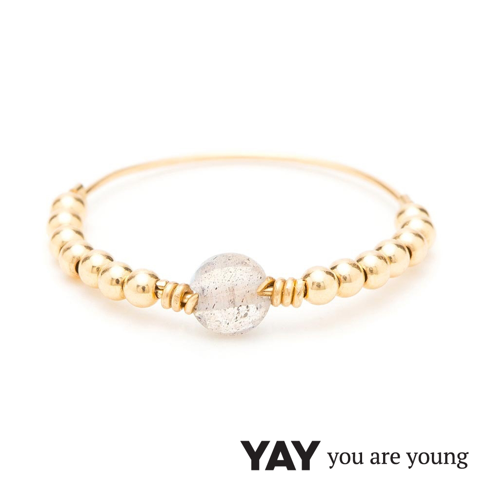 YAY You Are Young 法國品牌 Jimie 灰瑪瑙戒指 金色