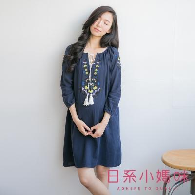日系小媽咪孕婦裝-立體感刺繡圖騰流蘇綁帶棉麻洋裝-共三色