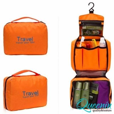 DF Queenin - 韓版出遊旅行專用盥洗包化妝包-橘色