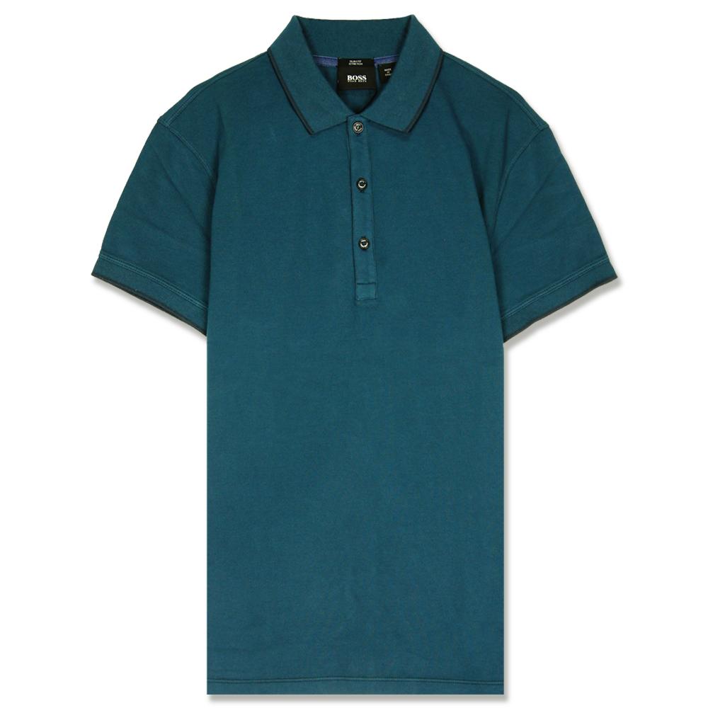 HUGO BOSS 黑標素面POLO男衫(藍綠)