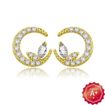 A+黃金 蝶戀月 黃金耳環