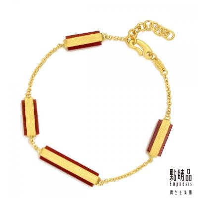 點睛品Emphasis 黃金手環- g* collection -矩形紅瑪瑙