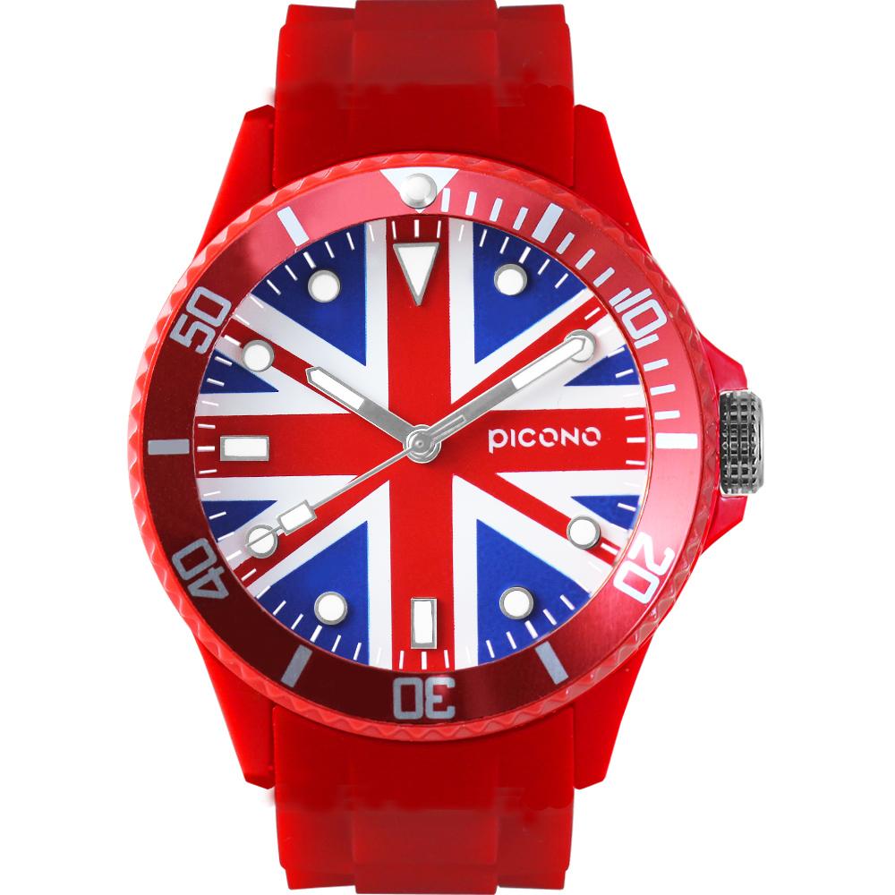 PICONO 國期系列腕錶-英國x紅/48mm