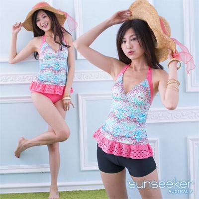 澳洲Sunseeker泳裝荷葉小裙花朵兩件式泳衣