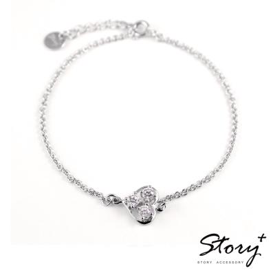 STORY ACCESSORY-明亮的心-純銀手鍊(白K金+白鑽)