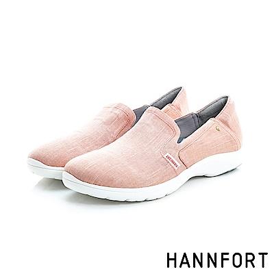 HANNFORT EASY WALK丹寧帆布氣墊鞋-女-粉嫩橘