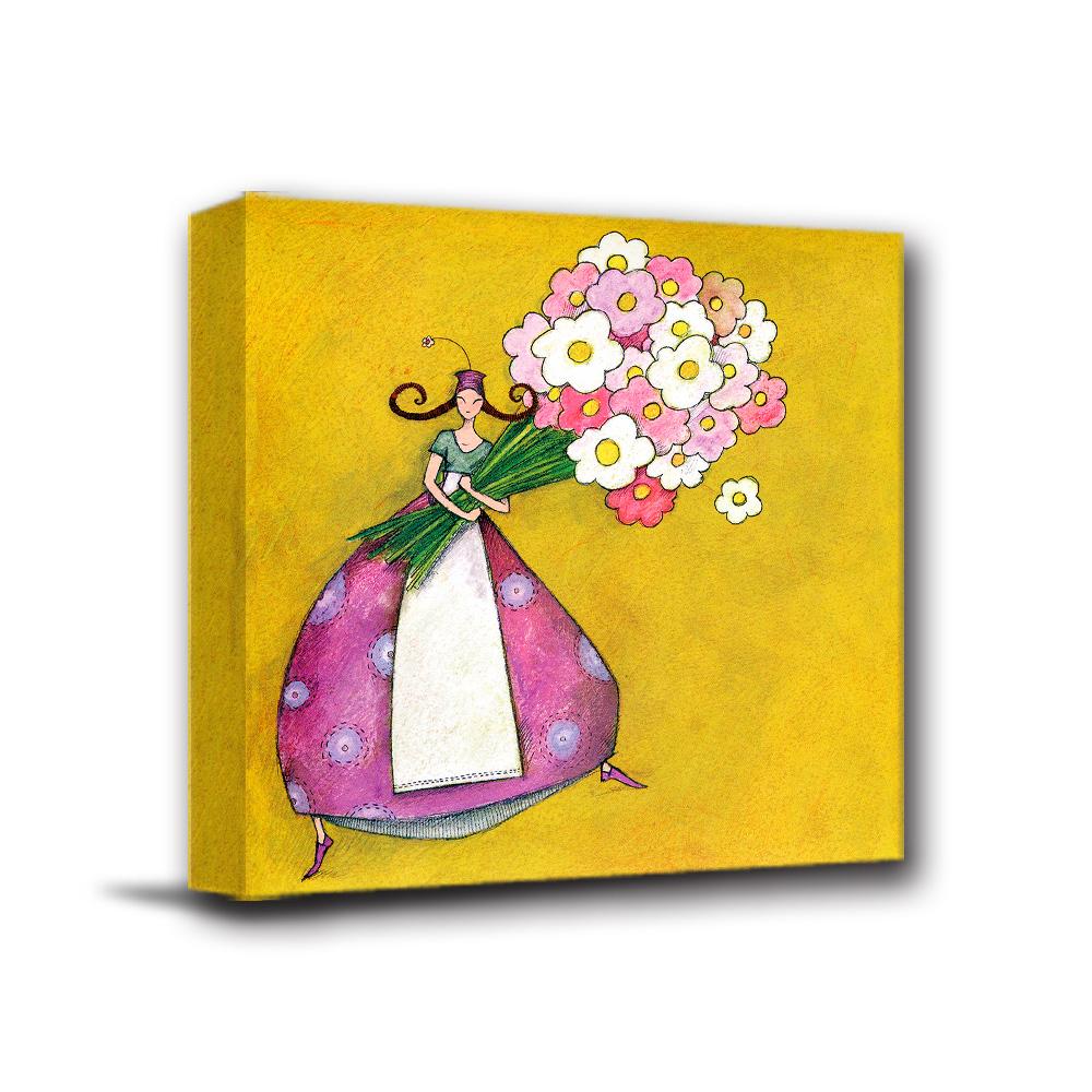 美學365 - 單聯式無框藝術掛畫時鐘 - 花卉女孩40x40cm