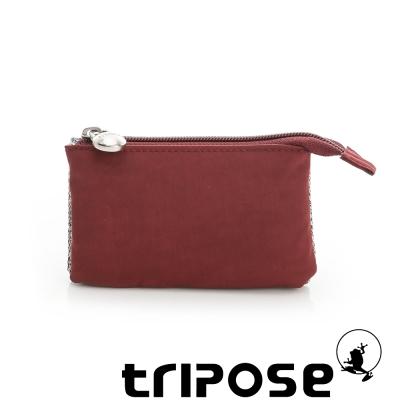 tripose 漫遊系列岩紋簡約微旅萬用零錢包 酒紅