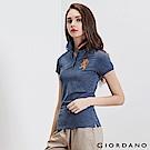 GIORDANO 女裝勝利獅王3D刺繡彈力萊卡POLO衫-23 藍白混色紗