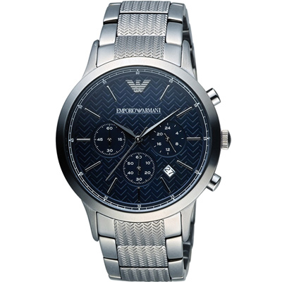 EMPORIO ARMANI 紳士時尚質感腕錶(AR2505)-藍/43mm