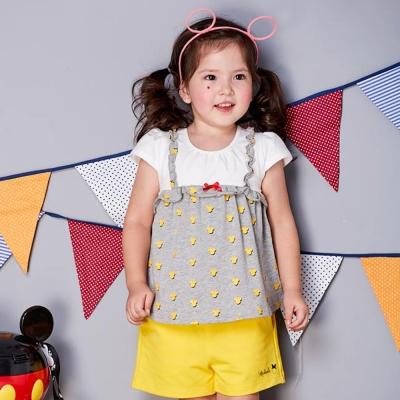 Disney baby 米妮系列假二件式短袖上衣 月光黃