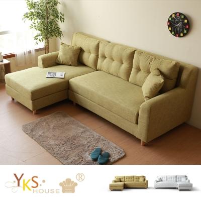 YKSHOUSE 潘朵拉L型布沙發 獨立筒版(兩色.左右型可選)