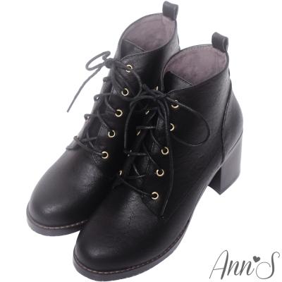 Ann'S學院風-復古擦色綁帶粗跟短靴-黑