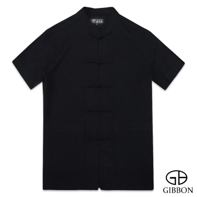 GIBBON 麻紗感涼夏透氣短袖唐裝‧黑色M~3L