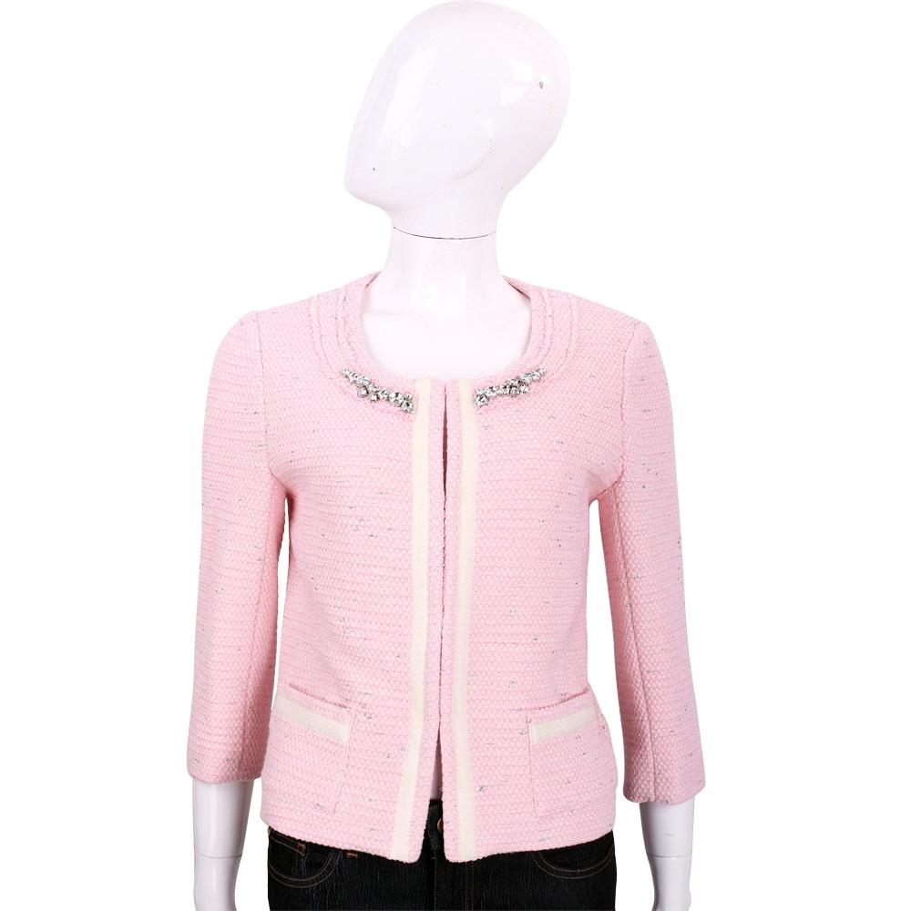 BLUGIRL 粉色鑽領飾邊七分袖毛呢外套
